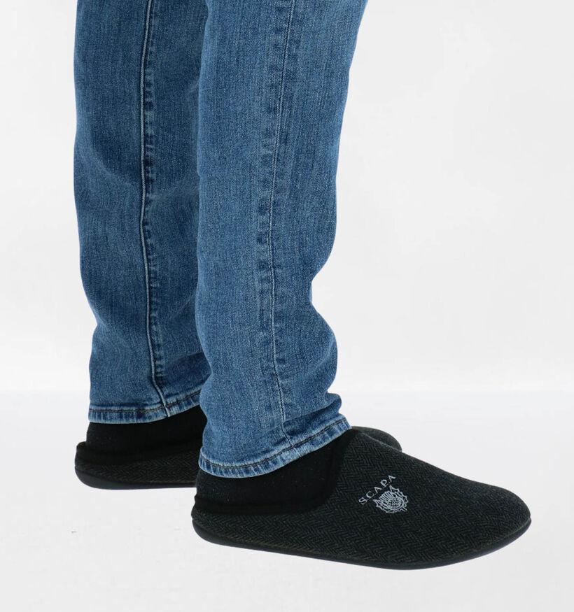Scapa Pantoufles ouvertes en Noir en textile (281345)