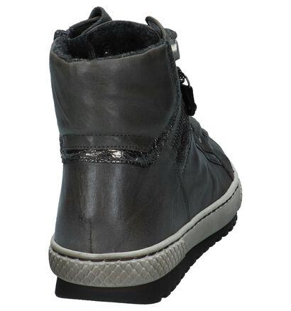 Gabor Donker Grijze Sneakers met Rits/Veter in leer (231189)