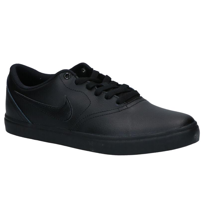 Nike SB Check Solar Chaussures de Skate en Noir en cuir (262212)