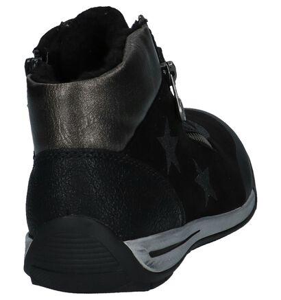 Rieker Zwarte Hoge Schoenen met Rits/Veter in stof (234842)