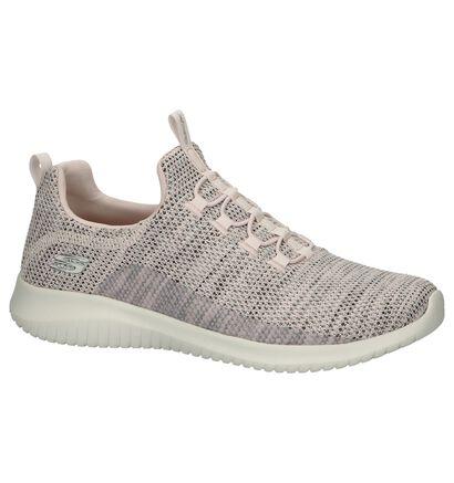 Zwarte Slip-on Sneakers Skechers Ultra Flex in stof (251926)