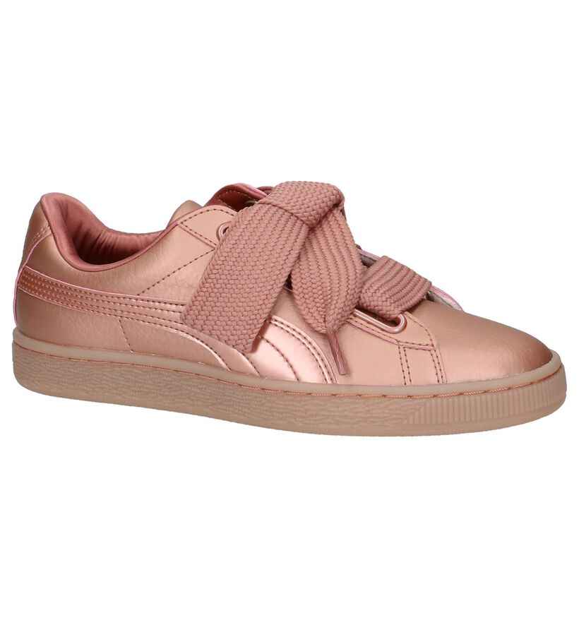 Rose Gold Lage Sneakers Puma Basket Heart in kunstleer (207274)
