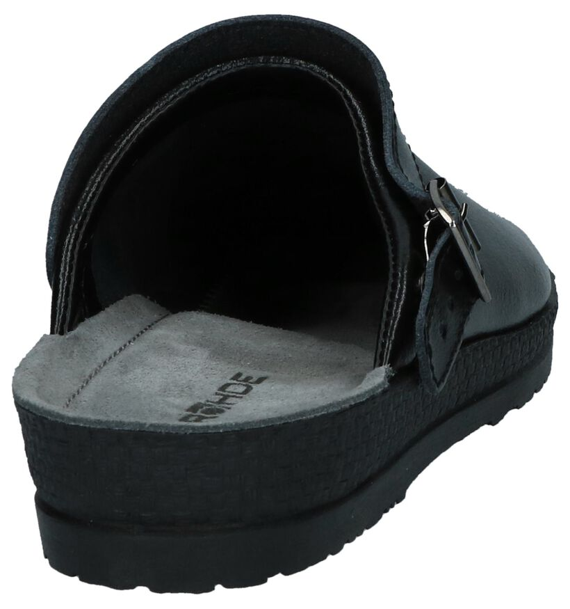 Zwarte Rohde Pantoffels met verstelbare sluiting in leer (250735)