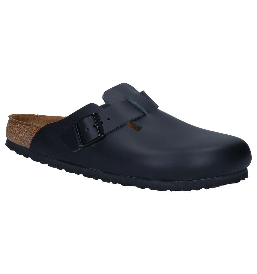 Birkenstock Boston Zwarte Slippers in leer (281358)