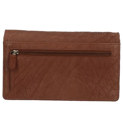 Bruine Euro-Leather Overslagportemonnee in leer (220949)