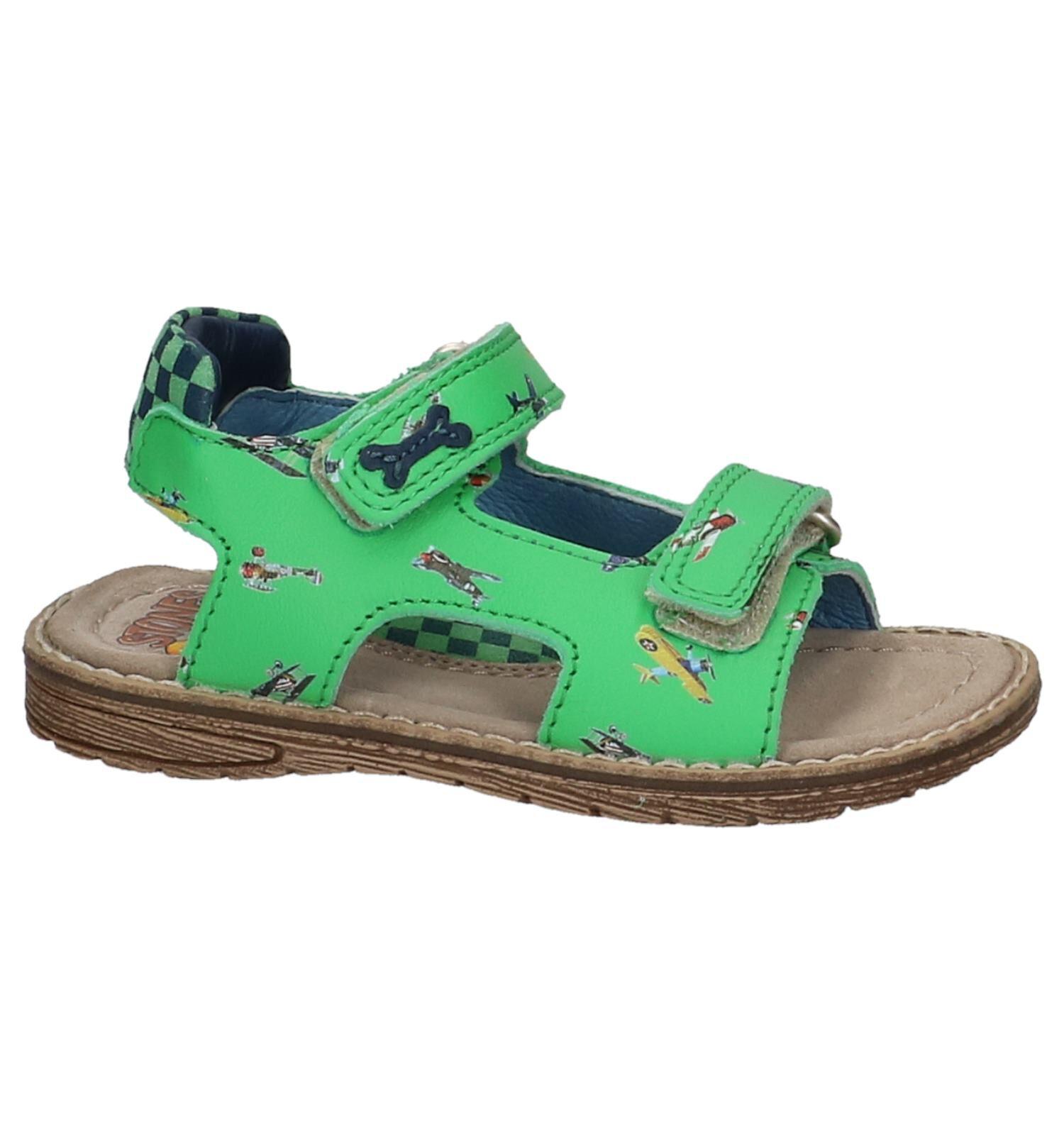 Groene STONES and BONES Sandalen met Vliegtuigjes