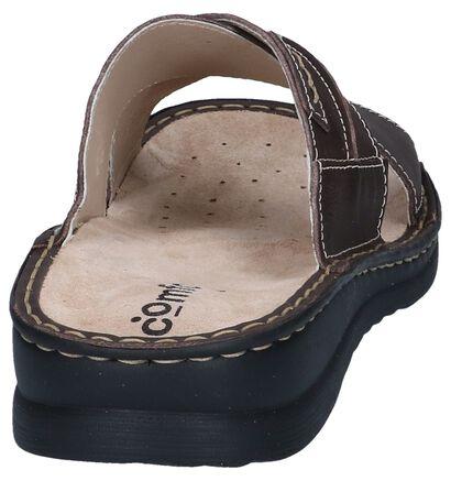 Donkerbruine Slippers Comfort Plus in leer (249358)