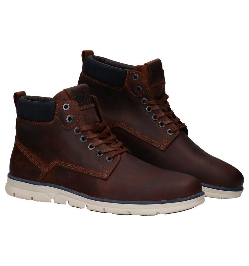 Jack & Jones Tubar Chaussures hautes en Brun en cuir (278341)