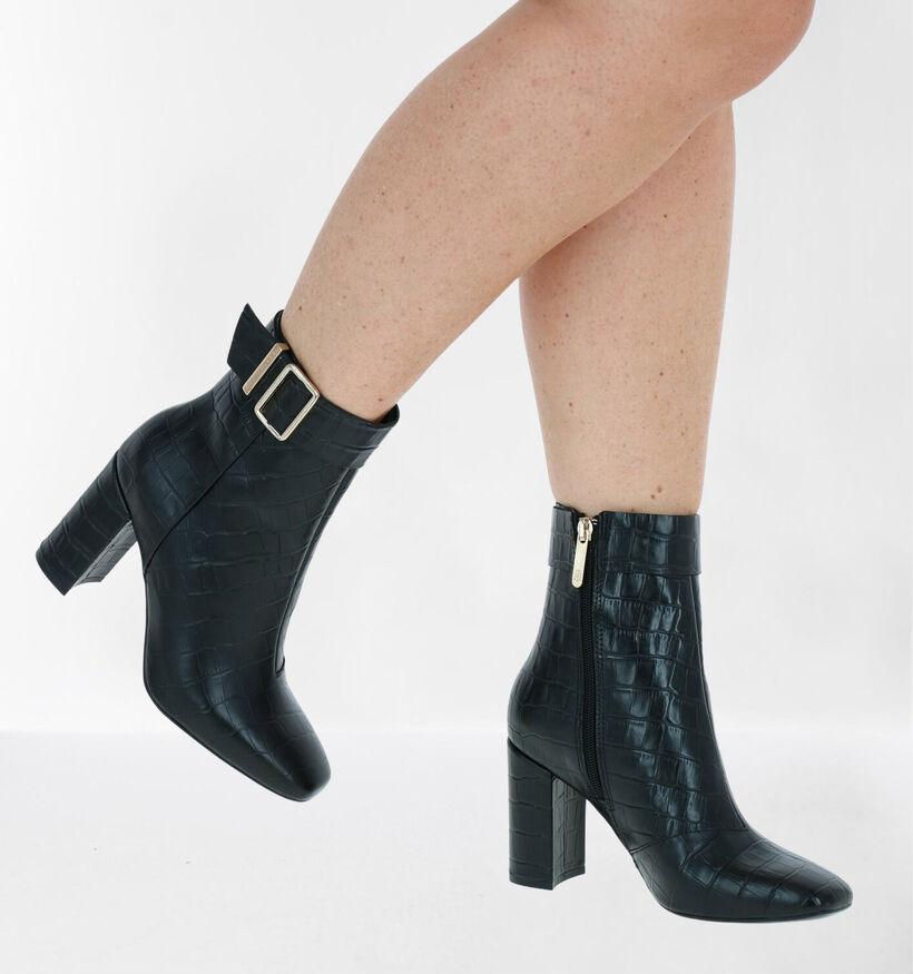Tommy Hilfiger Croco Look High Heel Zwarte Enkellaarzen in leer (279983)