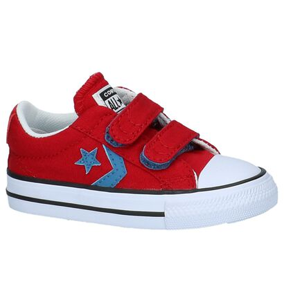 Donkerblauwe Babysneakers Converse Star Player, Rood, pdp