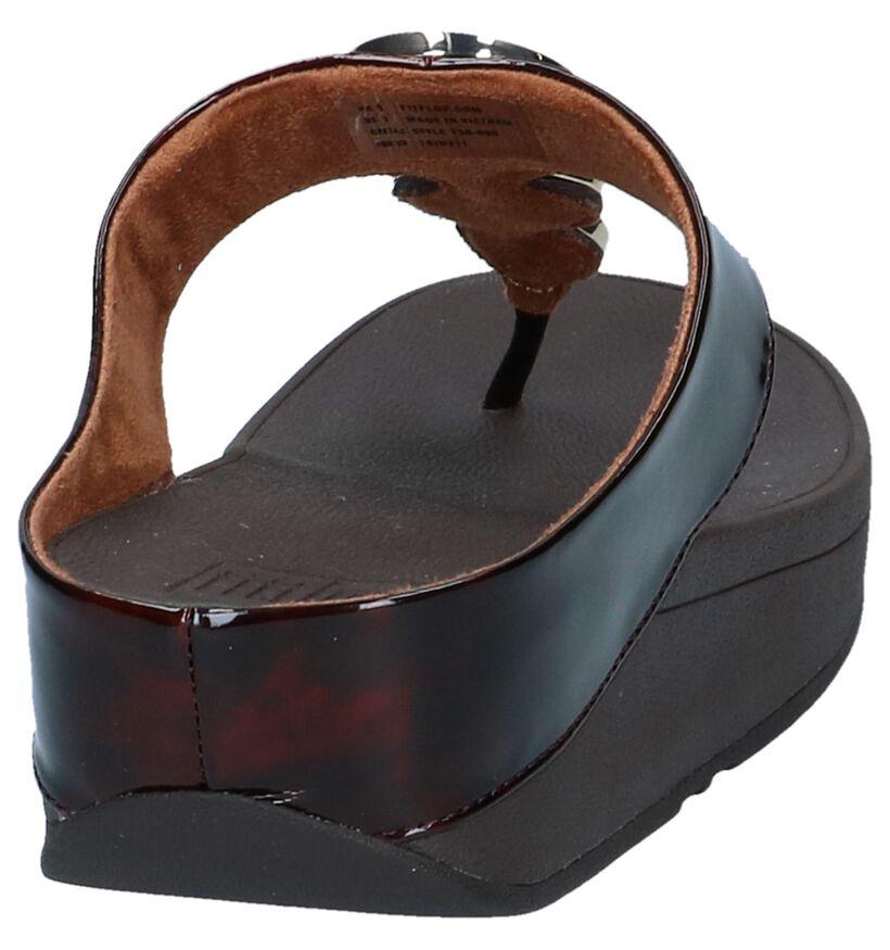 Donkerbruine Slippers FitFlop Halo Tortoise Shell in kunststof (240172)