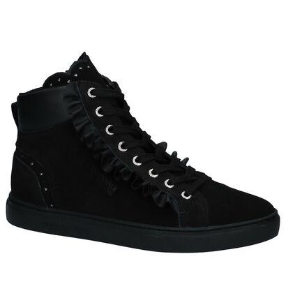 Zwarte Hoge Sneakers Trussardi Jeans in daim (222383)