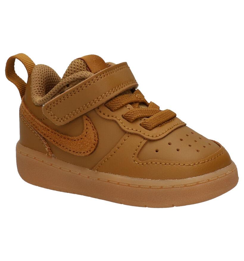 Nike Court Borough Baskets en Noir en cuir (274564)
