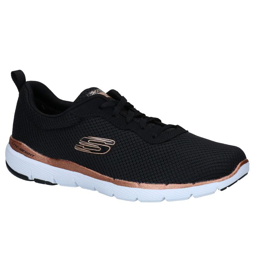 Skechers Flex Appeal 3.0 Zwarte Sneakers in stof (301476)