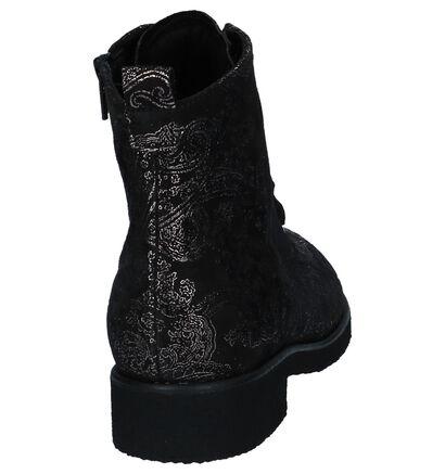 Gabor Comfort Boots met Rits/Veter Zwart in daim (231348)