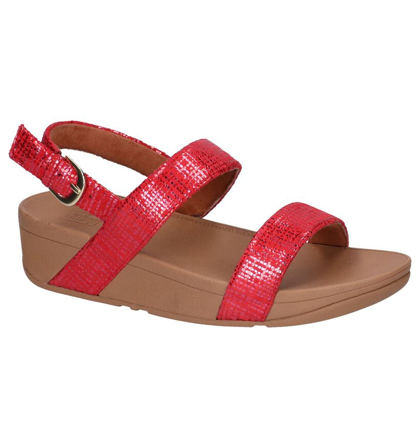 Rode Sandalen Lottie Chain Print in daim (240171)