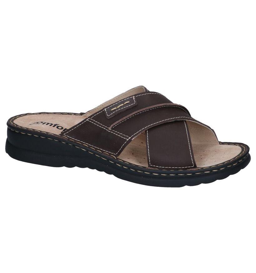 Comfort Plus Bruine Slippers in leer (272442)