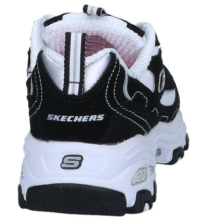 Zwarte Lage Sneakers Skechers D'Lites Biggest Fan in stof (250647)