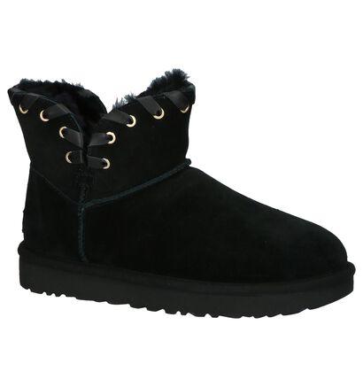 Zwarte Korte Boots UGG Aidah Mini in daim (200146)