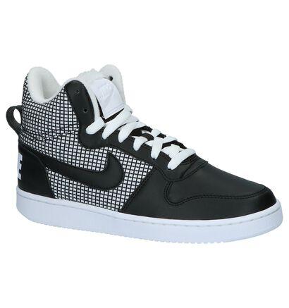 Hoge Sneakers Nike Court Borough Zwart met Wit in stof (205601)