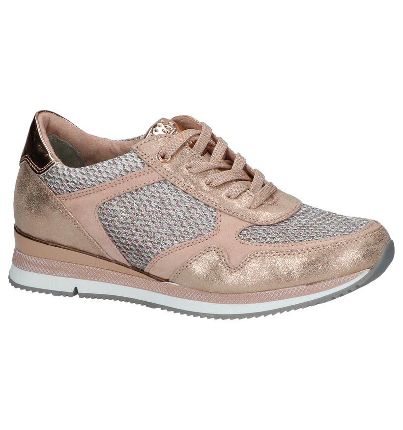 Rose Gold Sneakers met Glitters Marco Tozzi in kunstleer (209586)