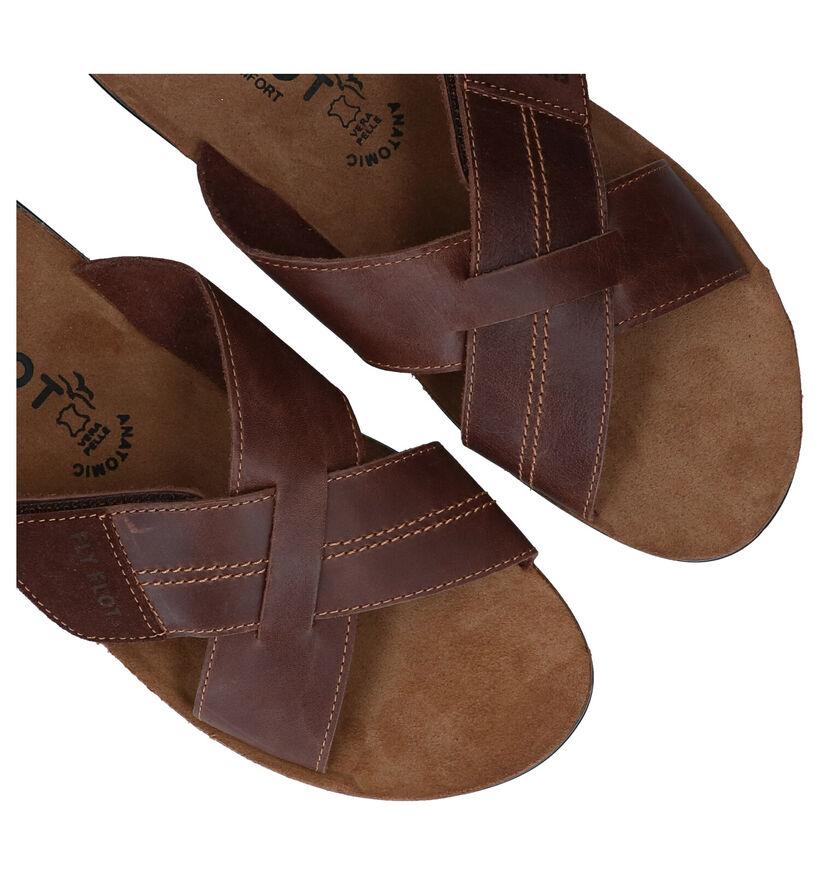 Fly Flot Nu-pieds plates en Marron en cuir (289127)