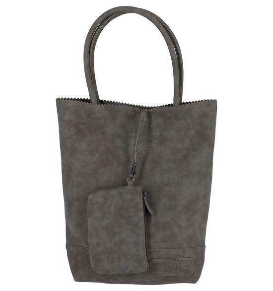 Donker Grijze Shopper Zebra Natural Bag