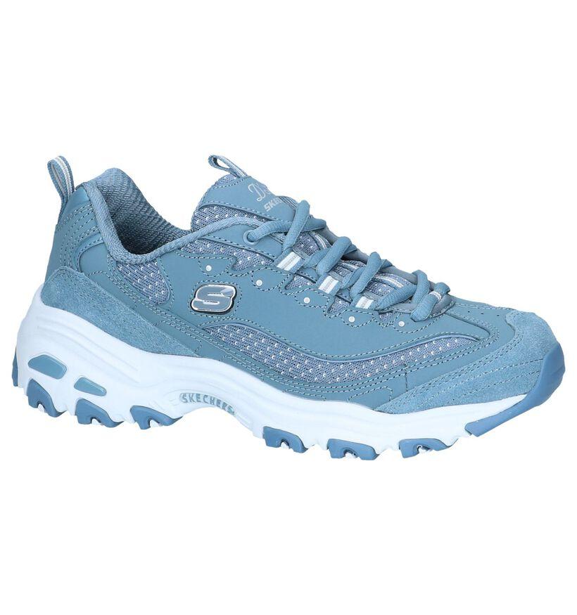 Blauwe Sneakers Skechers D'Lites Polka Nite in stof (252017)