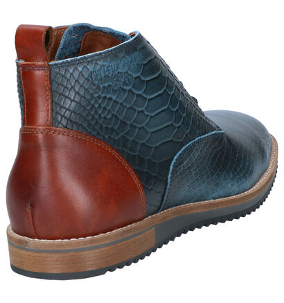 Cycleur de Luxe Allrounder Chaussures Hautes en Bleu en cuir (259415)