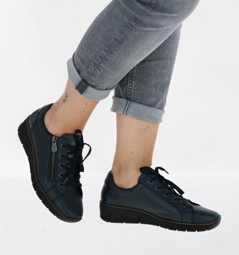 Rieker Chaussures à lacets en Bleu en cuir (283940)