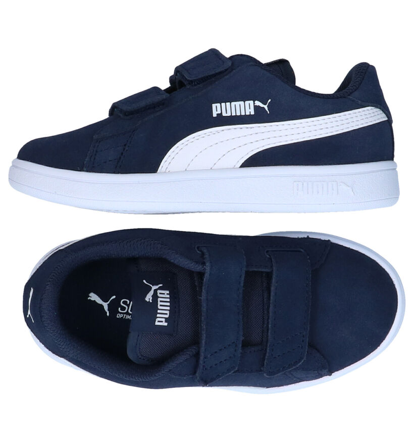 Puma Smash Blauwe Sneakers in nubuck (276767)