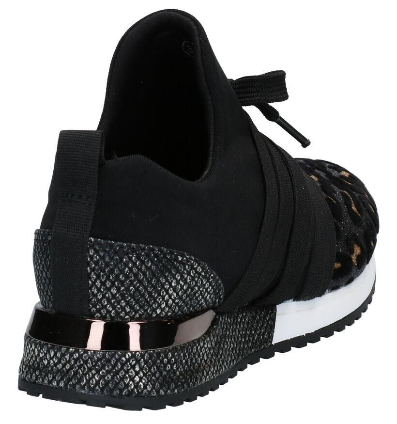 La Strada Zwarte Slip-on Sneakers in stof (278416)