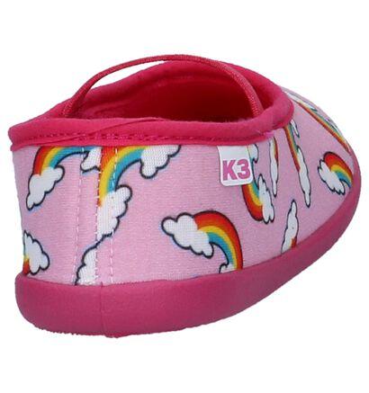 Roze Pantoffels K3 met Regenboog Tekeningen in stof (197978)