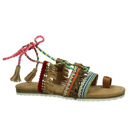 Platte Sandaal Multicolor Alma en Pena met Franjes, Multi, pdp