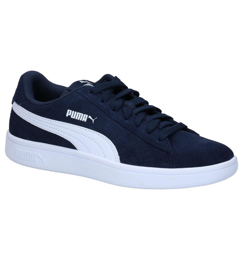 Puma Smash Blauwe Sneakers in daim (288264)