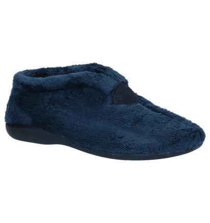 Via Limone Blauwe Pantoffels in stof (254857)