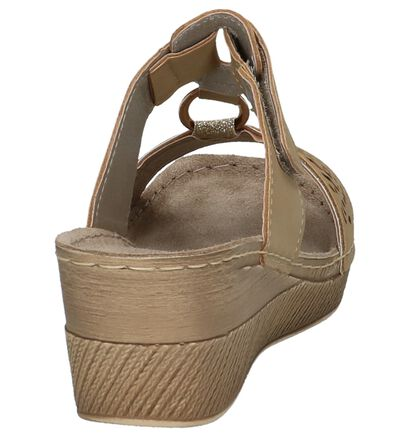 Licht Bruine Slippers met Sleehak Inblu, Bruin, pdp