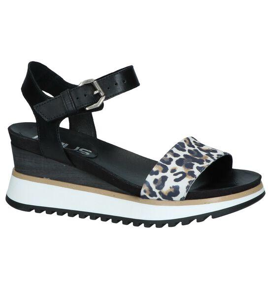 Zwarte Sandalen met Sleehak Mjus