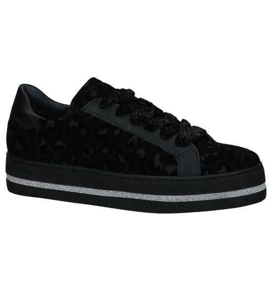 Zwarte Lage Sneakers met Luipaardprint Maripé