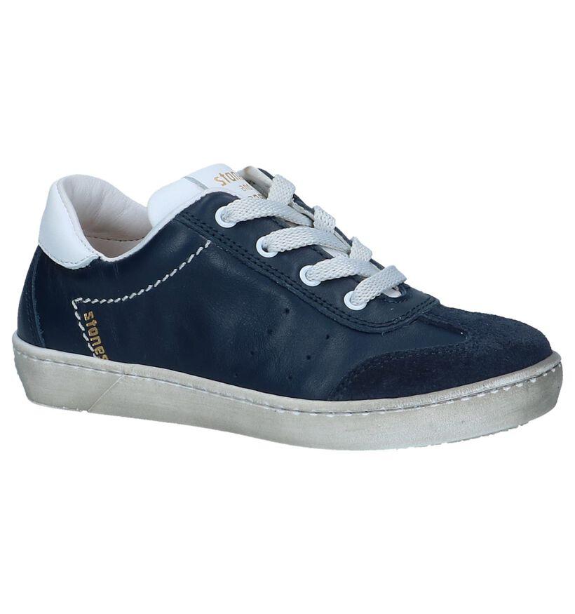 Donkerblauwe Casual Schoenen STONES and BONES Zefor in leer (239802)