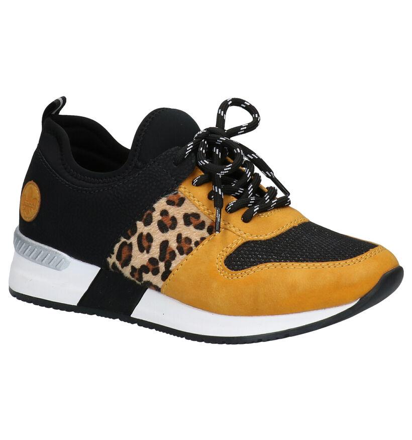 Rieker MemoSoft Zwart/Gele Sneakers in kunstleer (283949)