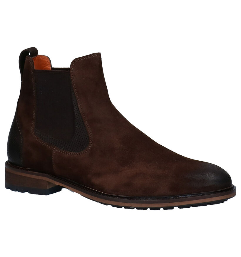 Van Lier Bruine Chelsea Boots in daim (283341)