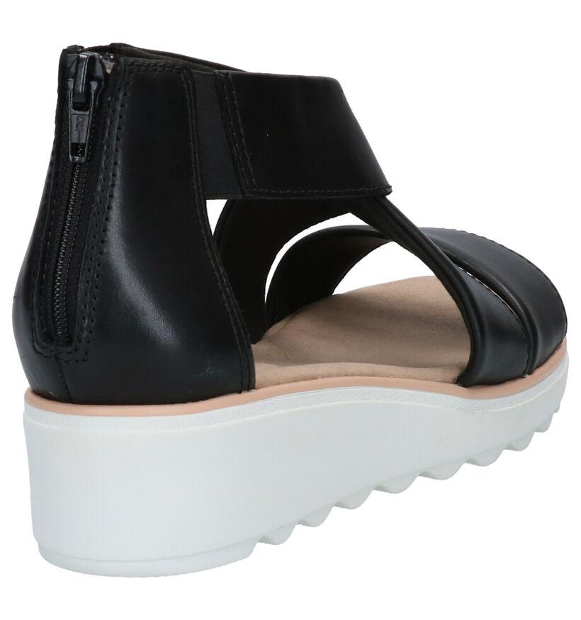 Clarks Jillian Rise Zwarte Sandalen in leer (265510)