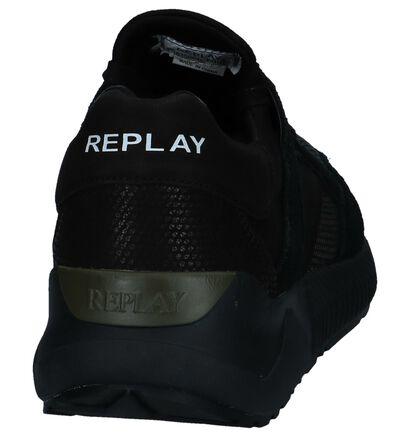 Zwarte Slip-on Sneakers Replay in stof (231706)