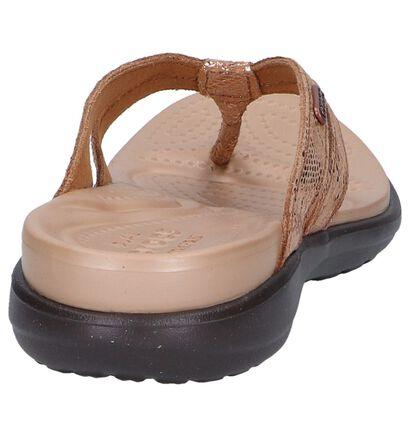 Crocs Capri Nu-pieds à talons en Bronze en cuir (244741)