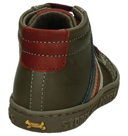 STONES and BONES Chaussures hautes en Taupe en cuir (200642)