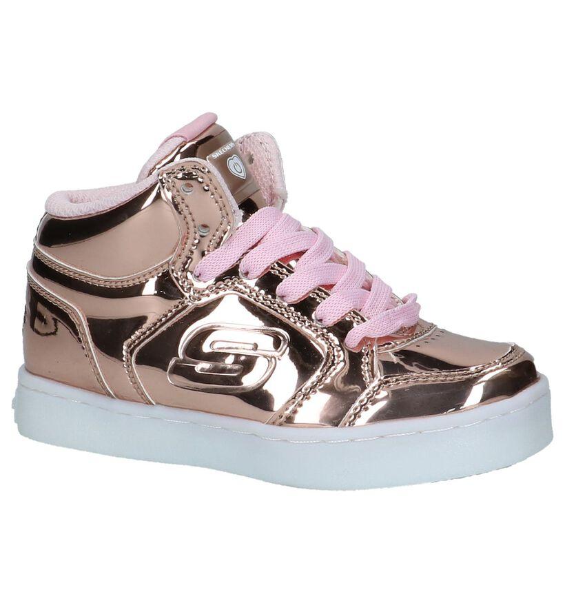 Roze Metallic Hoge Sneakers met Lichtjes Skechers in kunstleer (222865)