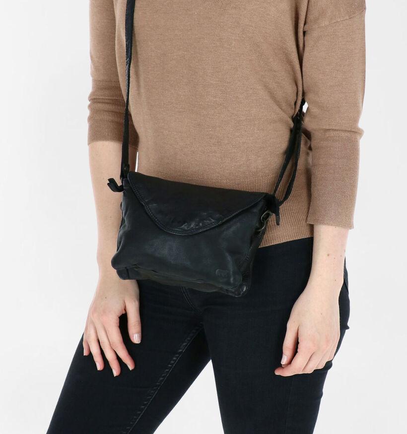 Bear Design Zwarte Crossbody Tas in leer (283601)
