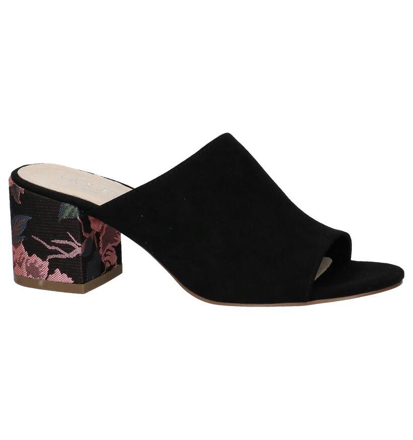 Youh! Nu-pieds à talons en Noir en textile (212138)