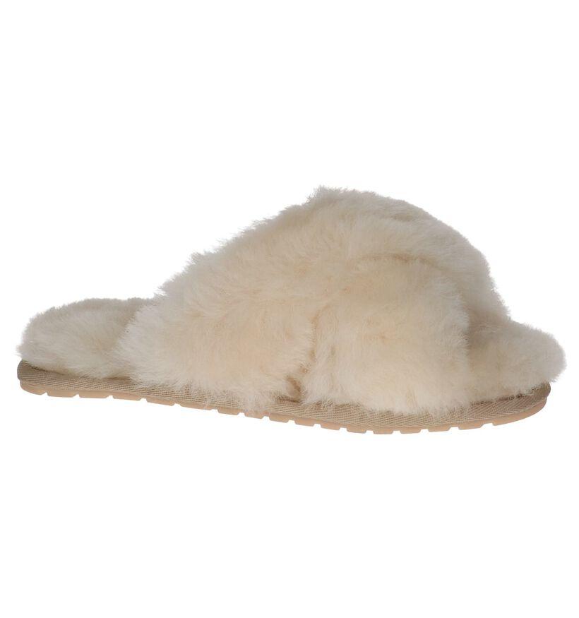 EMU Pantoufles ouvertes en Écru en laine (231587)